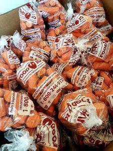 a bin of carrots at the food bank